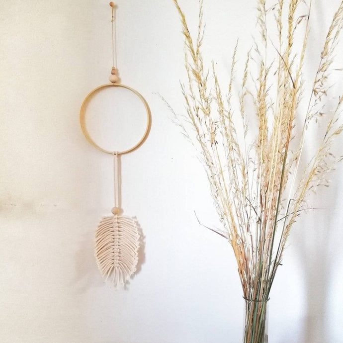 macrame leaf hanging dreamcatcher