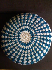 Crocheted Cusion Teal and Cream-Cushions-EKA