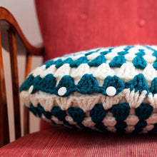 Load image into Gallery viewer, Crocheted Cusion Teal and Cream-Cushions-EKA