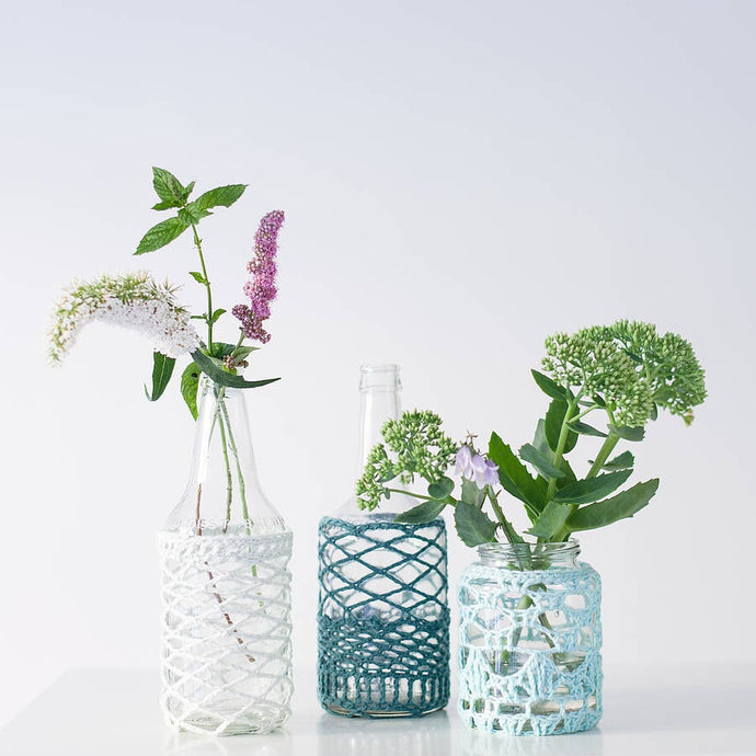 Organic Cotton Lace Covered Jar-Lace Covered Vase-EKA