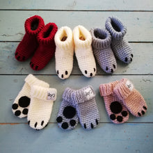 Load image into Gallery viewer, Newborn Paw Bootie And Mitten Set-Baby Booties-EKA