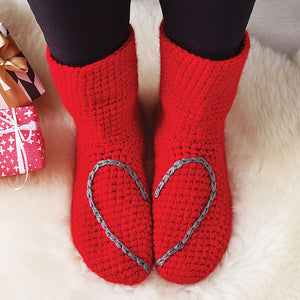 Slipper Socks With Love Heart - Adult