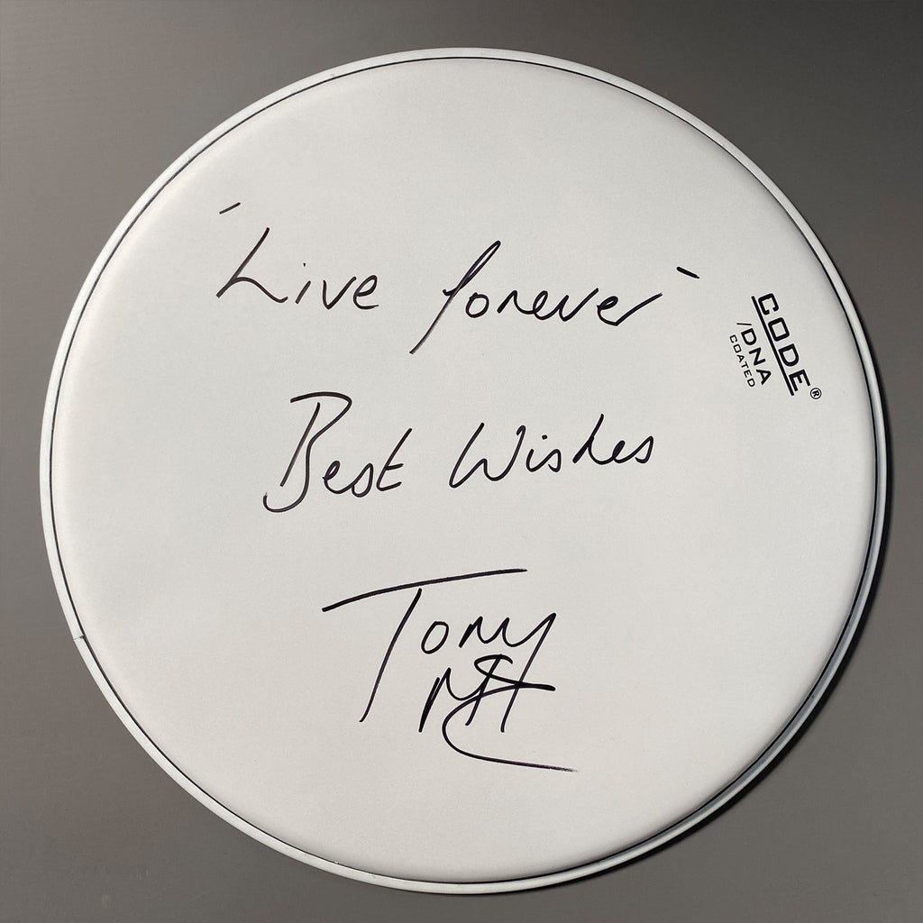 Tony McCarroll - Personally signed drum skin