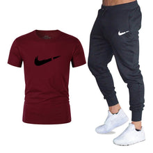 Load image into Gallery viewer, Men's Sets T Shirts+pants Two Pieces Sets Casual Tracksuit Men/Women New Fashion printing suits sportwear Gyms Fitness trousers