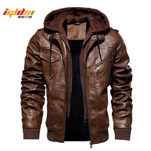 Men's Winter Warm Fleece Jackets and Coats Autumn Men Hat Detachable Leather Jackets Outwear Motorcycle PU Leather Jacket M-4XL