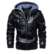 Load image into Gallery viewer, Men's Winter Warm Fleece Jackets and Coats Autumn Men Hat Detachable Leather Jackets Outwear Motorcycle PU Leather Jacket M-4XL