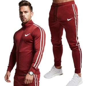 2019 New fashion Print Men Sport Set Spring Tracksuit long Sleeve Hoodie Sweatshirt GYM Fitness Pants Workout Running Suit
