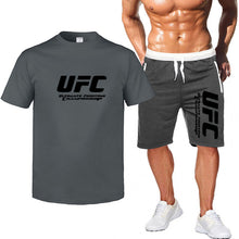 Load image into Gallery viewer, 2Pcs sets Multicolor Ultimate Fighting Championship Ufc Cotton t shirts short-sleeved casual men's T-shirt & sports shorts Pant