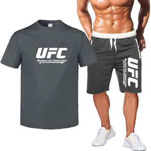 2Pcs sets Multicolor Ultimate Fighting Championship Ufc Cotton t shirts short-sleeved casual men's T-shirt & sports shorts Pant