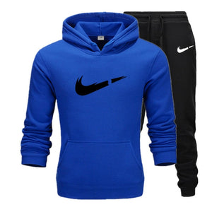 Free Shipping New 2019 Brand Tracksuit Fashion Hoodies Men Sportswear Two Piece Sets Fleece Thick hoody+Pants Sporting Suit Male