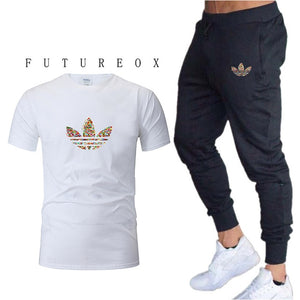 new gym men's high quality jogging two-piece fashion T-shirt + sweatpants suit running training sportswear men's sports trousers