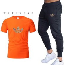 Load image into Gallery viewer, new gym men's high quality jogging two-piece fashion T-shirt + sweatpants suit running training sportswear men's sports trousers