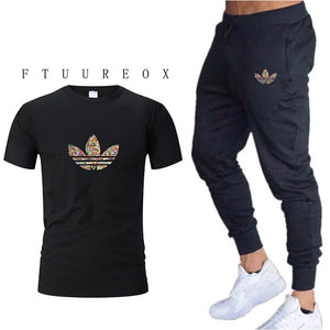 2019 summer new T-shirt men's fashion two-piece men's gymT shirt + pants men's sportswear printing casual men's T-shirt suit