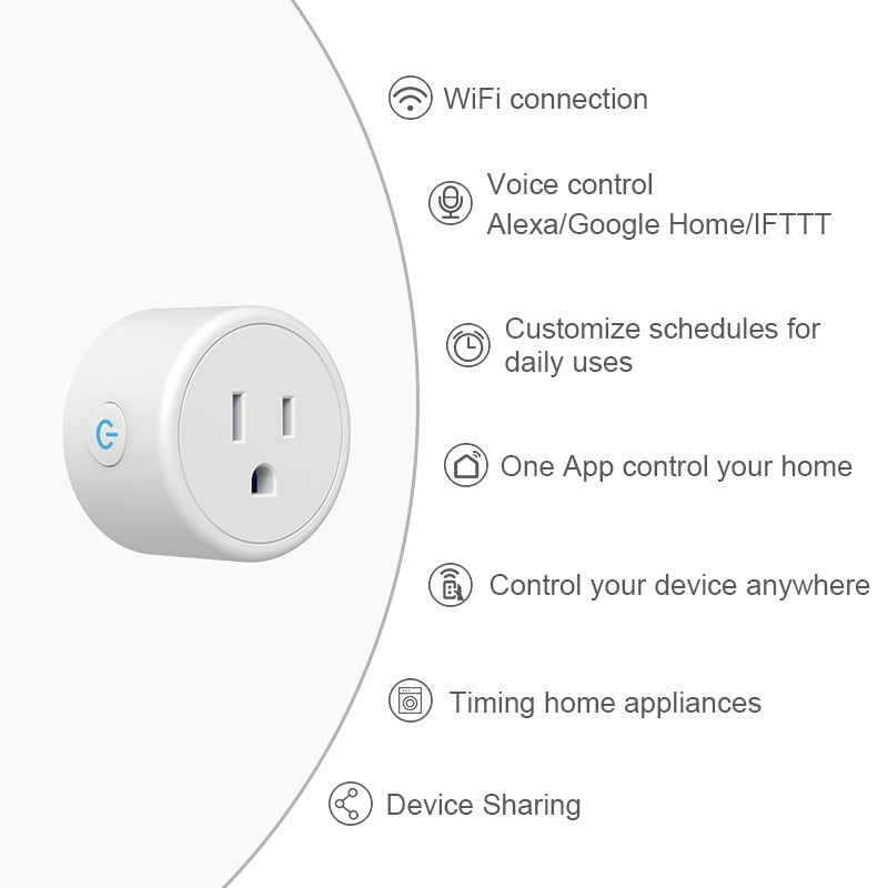 FrankEver Mini US Wifi Plug with Surge Protector 110-230V Voice Control Smart Socket Work with Alexa Google Home Tuya APP