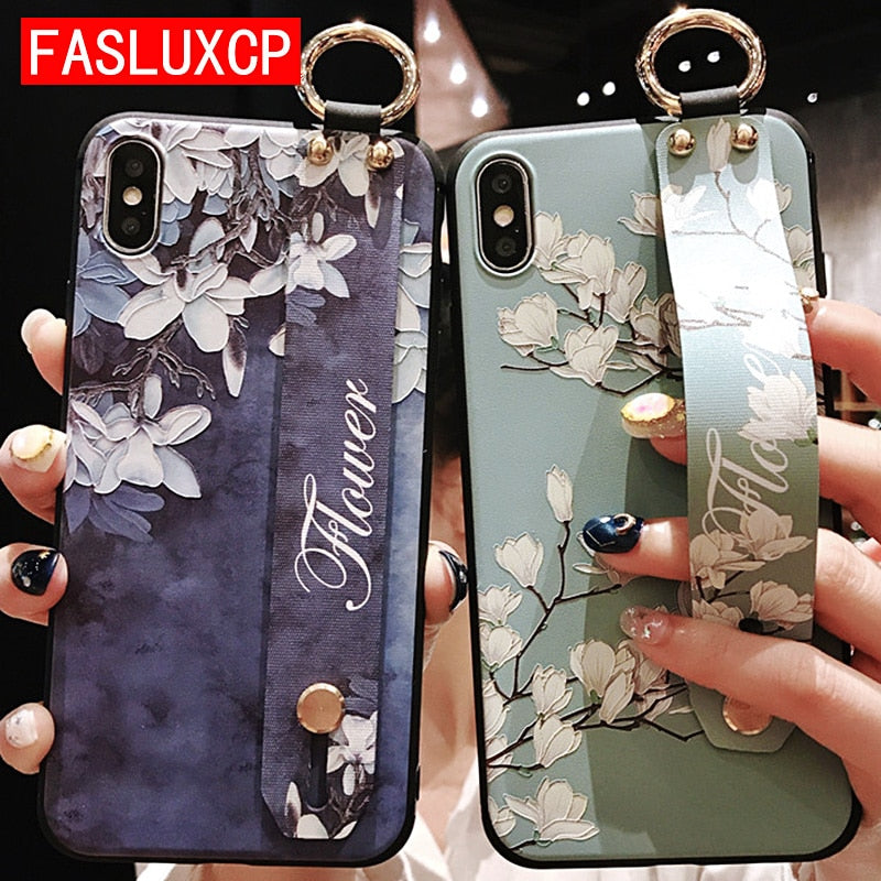 For iPhone 11 Case Fashion Flower Phone Holder Case for iPhone 8 Plus 6 6s 7 X XR XS 11 pro max Soft TPU Wrist Strap Cover Etui - Panda Play Store