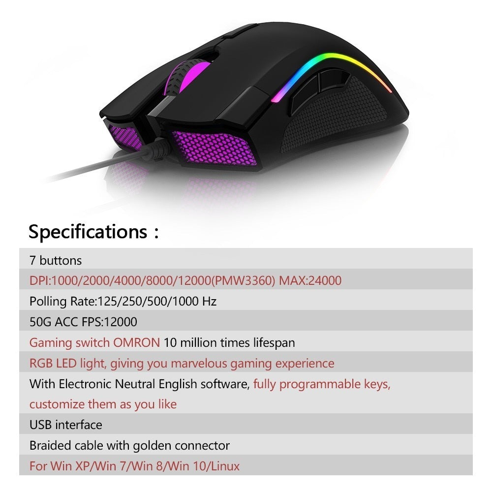 Delux M625 PMW3360 Sensor Gaming Mouse 12000DPI 7 Programmable Buttons RGB Backlight Wired Mice with Fire Key For FPS Gamer
