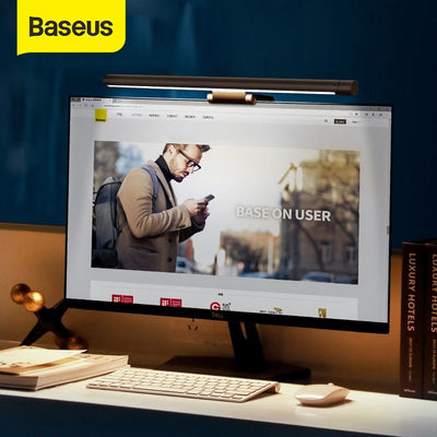Baseus Led Desk Lamp Adjustable Reading Screen Hanging Light Computer Eye Protection Lamp USB Rechargeable Light for Office Home - Panda Play Store