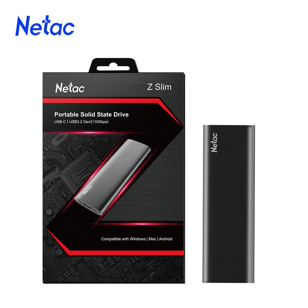 Netac ZSLIM SSD External Portable SSD 2TB 1TB 500GB 250GB Hard drive USB 3.1 Type C External Solid State Drives For Laptop