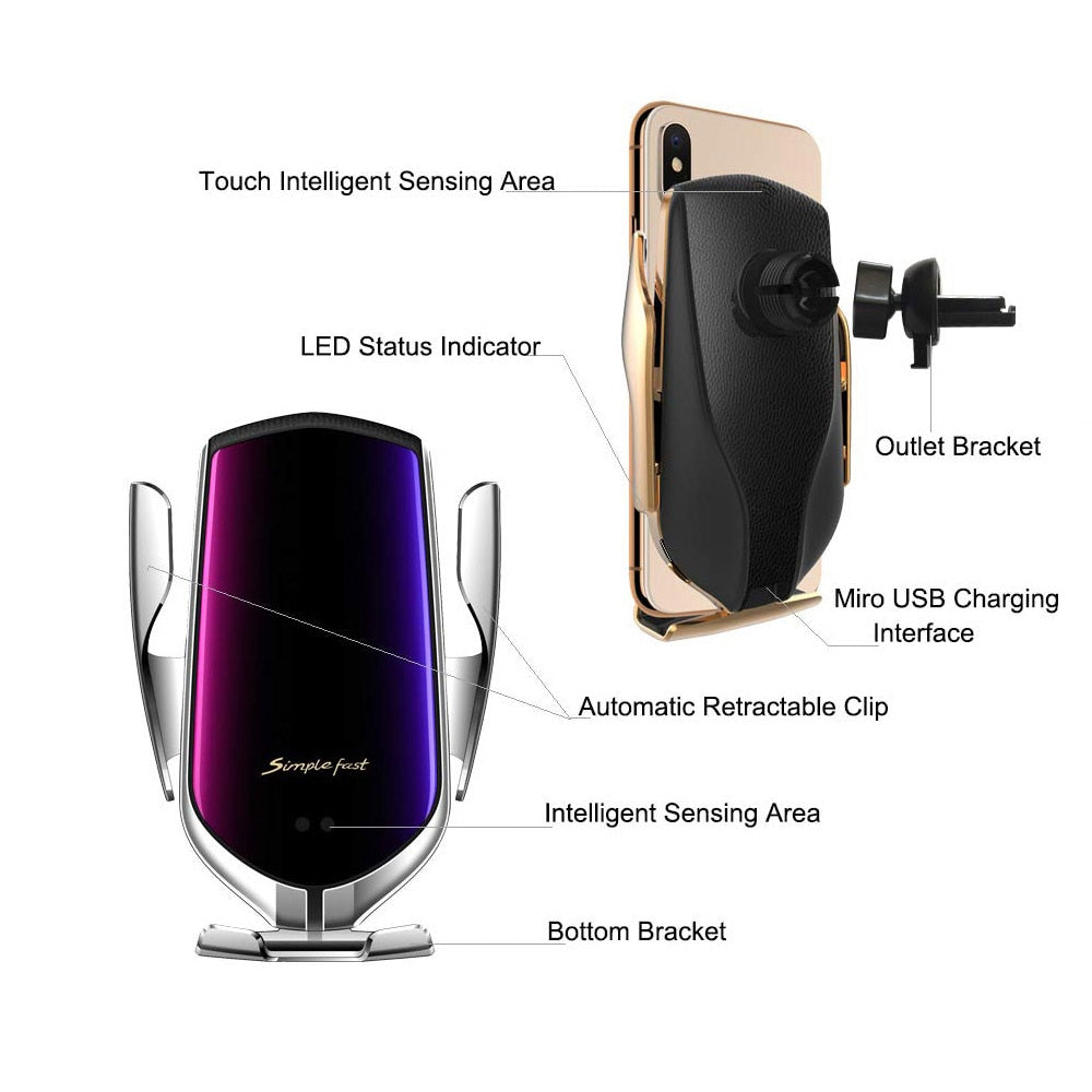 Automatic Clamping Car Wireless Charger 10W Quick Charge for Iphone 11 Pro XR XS Huawei P30 Pro Qi Infrared Sensor Phone Holder - Panda Play Store
