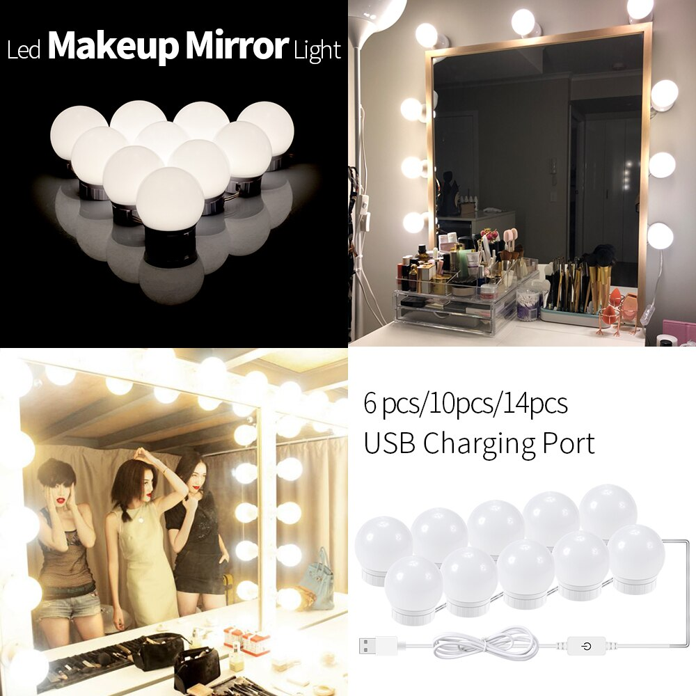 CanLing LED 12V Makeup Mirror Light Bulb Hollywood Vanity Lights Stepless Dimmable Wall Lamp 6 10 14Bulbs Kit for Dressing Table - Panda Play Store
