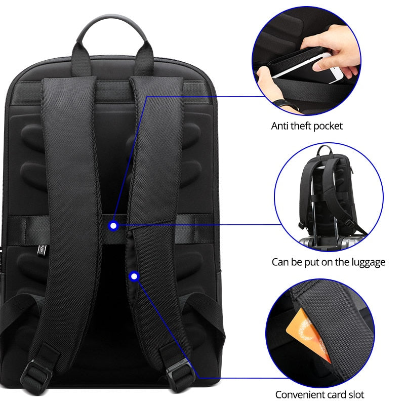 BOPAI Slim Laptop Backpack Men 15.6 inch Office Work Women Backpack Business Bag Unisex Black Ultralight Backpack Thin Back Pack