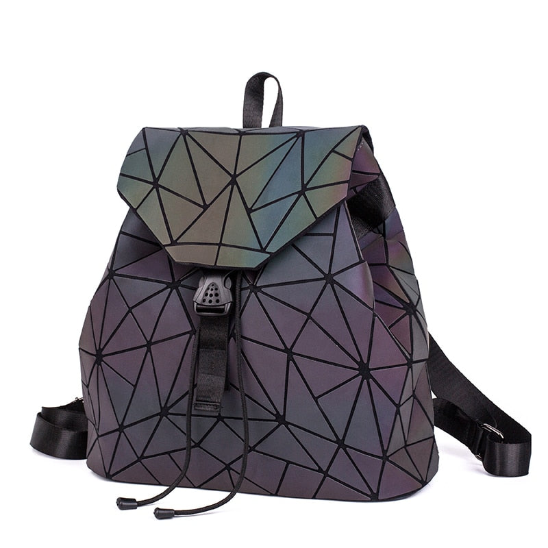 Women Backpack Luminous Geometric Plaid Sequin Female Backpacks For Teenage Girls Bagpack Drawstring Bag Holographic Backpack