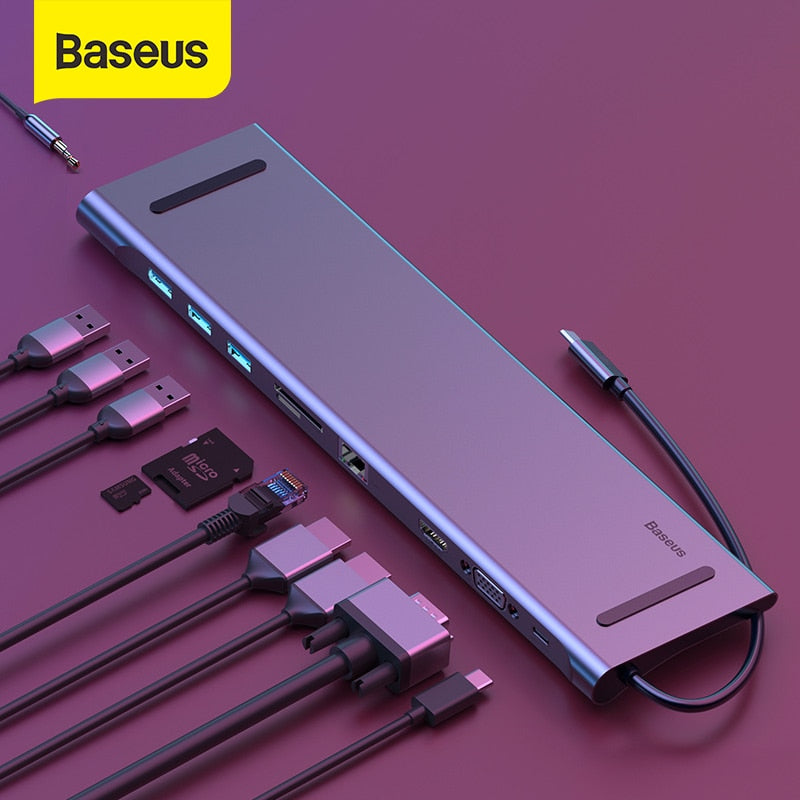 Baseus USB Type C HUB to 3.0 USB HDMI RJ45 USB HUB for MacBook Pro Accessories USB Splitter Multi 11 Ports Type C HUB USB-C HUB - Panda Play Store