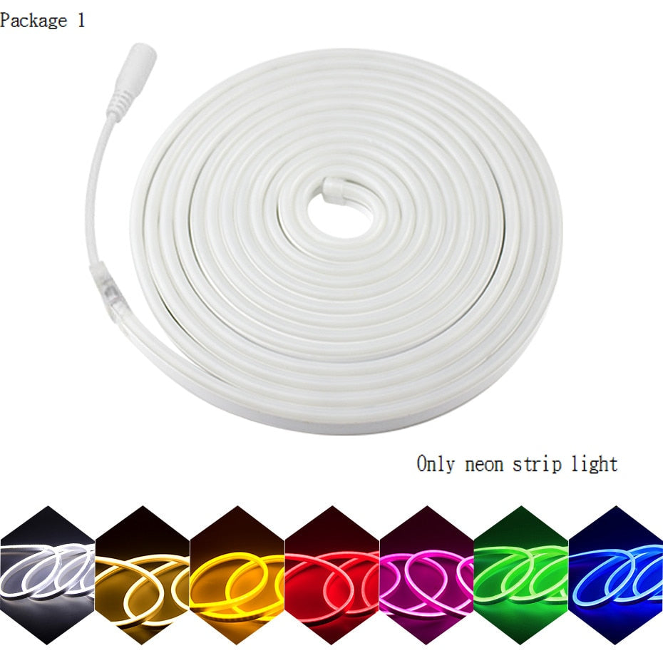 LED Strip Flexible Neon Light 12V Waterproof Luces Led Ribbon Rope Dimming Flex Tube Tape Room Warm White Yellow Red Green Blue