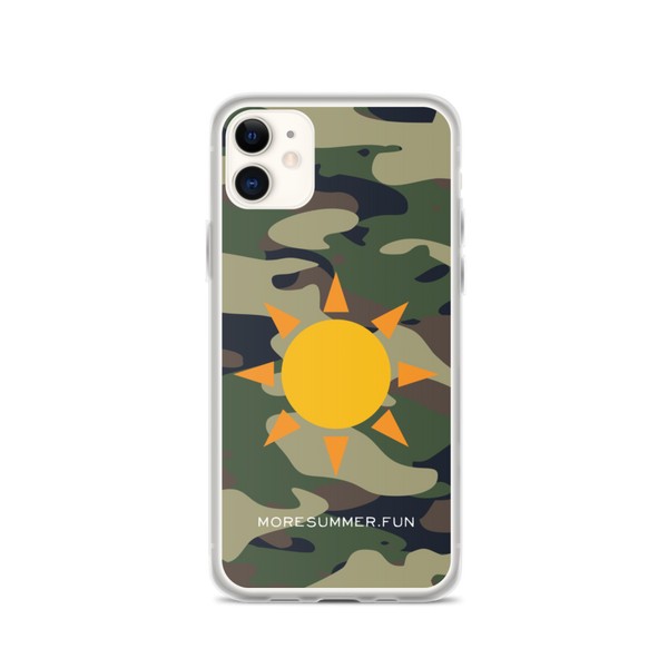 Camo Sun Emoji iPhone Case