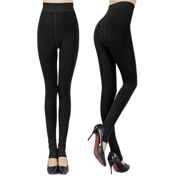 Black - Fleece Lined Toeless Tights