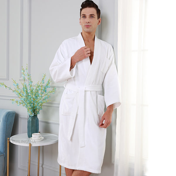 5 Star Hotel 100% Cotton Men Kimono Towel Bathrobe Plus Size Bath Robe Mens Sweat Terry Robes Women Long Dressing Gown Sleepwear