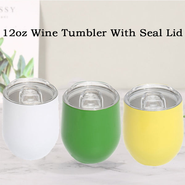 12oz Wine Tumbler With Seal Lids Stainless Steel Wine Glasses Wedding Party Beer Cup Vacuum Coffee Mug Thermos Christmas Gift