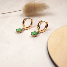 Load image into Gallery viewer, MINA Huggie Hoop Earrings in jade / opal