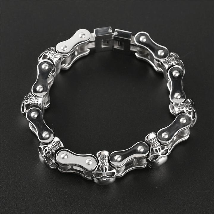 Chain Linked Skull Cuff Bracelet