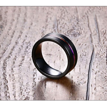 8MM Tungsten Steel Scrub Colored Groove Ring Black Men's Ring - Urunigi.com
