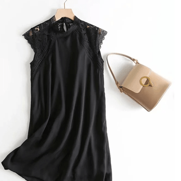 Black chiffon stitching lace dress - Urunigi.com
