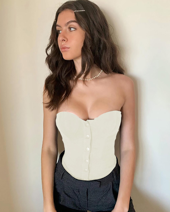 Single Breasted Slim Fit Tube Top