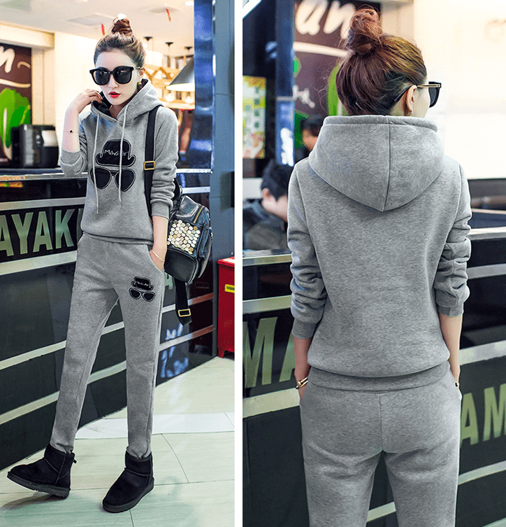 Autumn and winter new plus velvet thickening hooded long-sleeved trousers casual sweater fashion embroidery sports suit - Urunigi.com