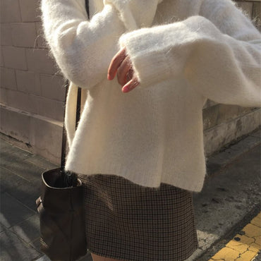 Korea Casual Joker Sweater + Check Skirt Set - Urunigi.com