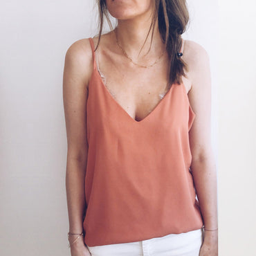 V-neck lace stitching camisole