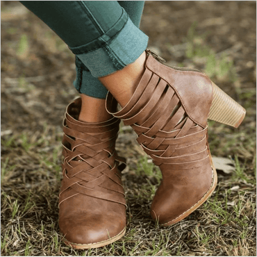 Autumn and winter new European and American large size women's shoes short boots hollow high-heeled thick with women's boots - Urunigi.com