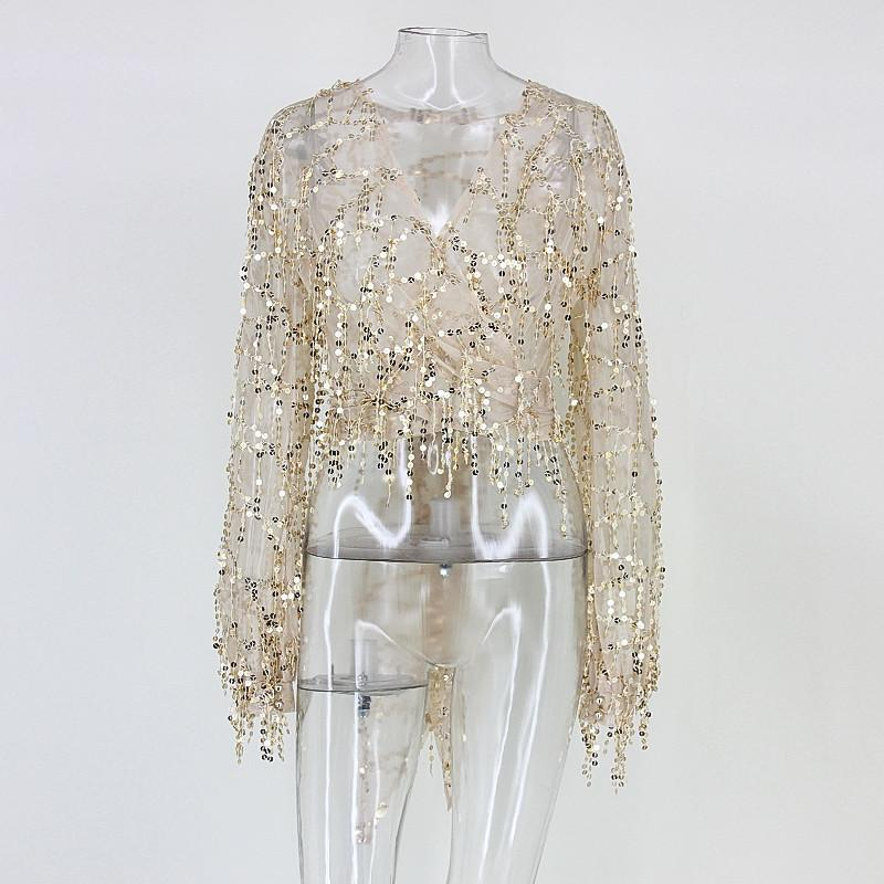 Fringed sequins nightclub party queen V-neck sexy long-sleeved shirt - Urunigi.com