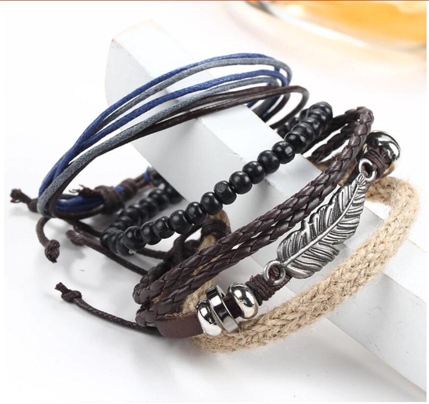 New Angel Wing Feather Alloy Multilayer Wood Bead Weaving Beaded Wax Rope Bracelet Star with Bracelet Jewelry
