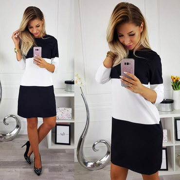 European and American women's trade 2020 autumn and winter fashion round neck color matching slim seven-point sleeve dress - Urunigi.com