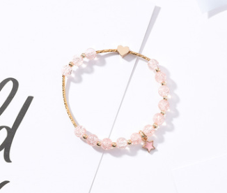 Simple wild popcorn crystal crystal trick peach bracelet temperament sweet exquisite love five-pointed star stretch bracelet female