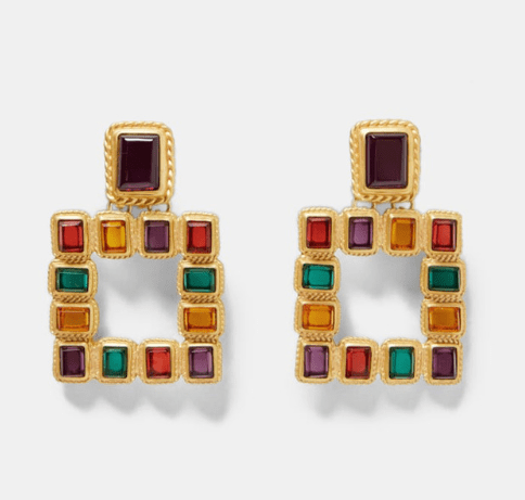 Best lady Vintage Mexico multicolor square earrings for women Metal earrings bright christmas fashion jewelry gift Bohemian hot - Urunigi.com