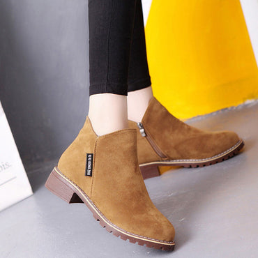 Frosted Martin Boots Low Heel Booties