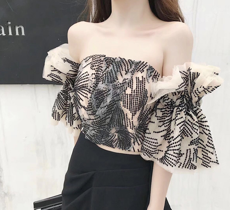 Spring and Summer 2020 New Type Shoulder Brassiere Mesh Sleeve Walking Show Type Brassiere Lace Sexy Top