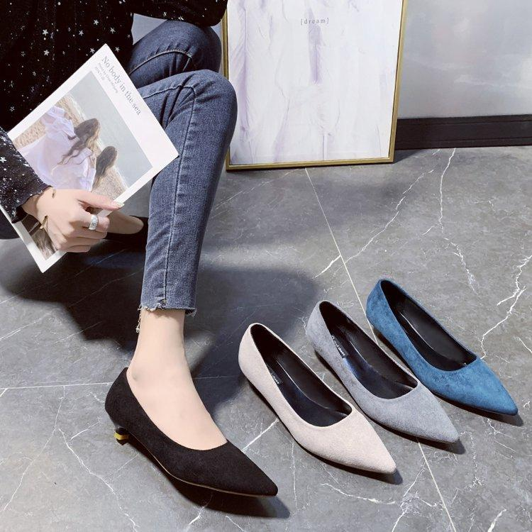 Suede mid-to-low pump pumps - Urunigi.com