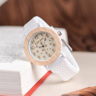 BOBO BIRD Timepieces Women Wood Watches Soft Silicone Band Starry Sky Fashion Design Ladies Quartz Wristwatch W*P21